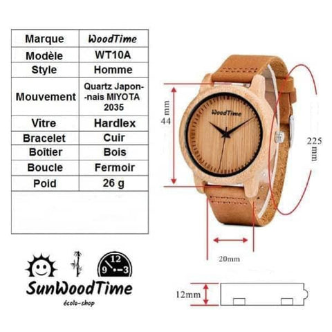 Montre bambou homme