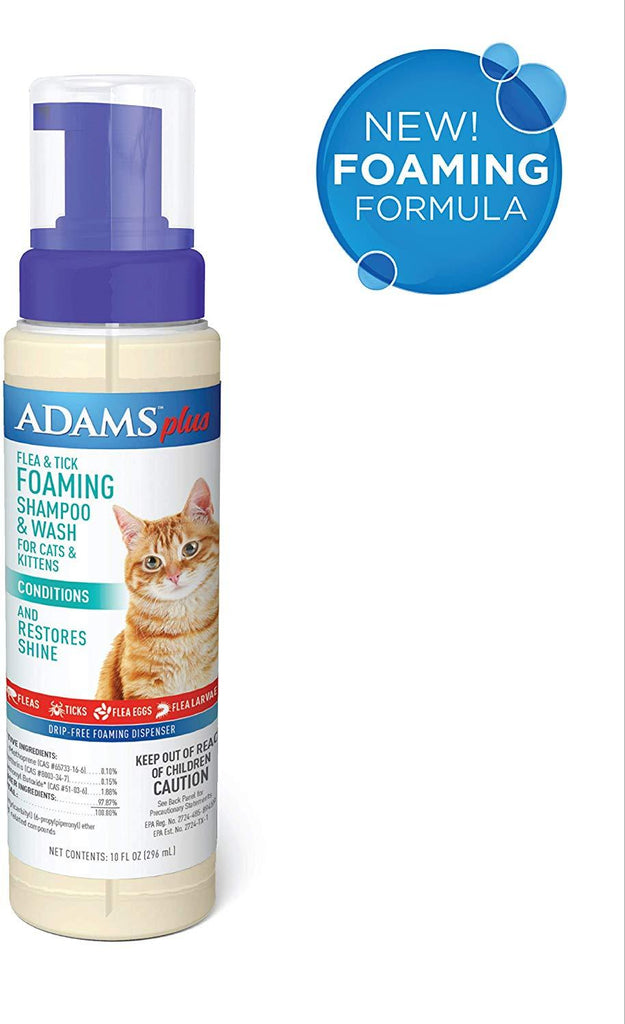 Adams Plus Flea & Tick Foaming Shampoo & Wash for Cats & Kittens 10 oz. - Piccardmeds4pets.com