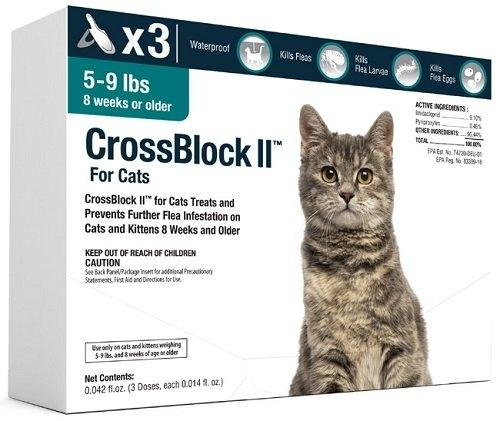 CrossBlock II Once a Month Topical Flea Prevention for Small Cats 5-9lbs 3Pack - Piccardmeds4pets.com