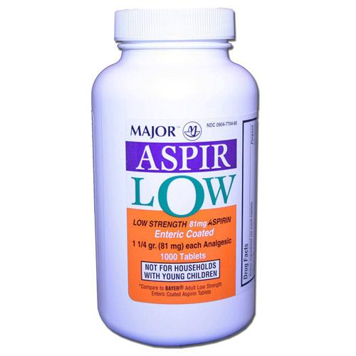 Major Low Dose Aspirin 81mg Heart Regimen 1000 Tabs - Piccardmeds4pets.com