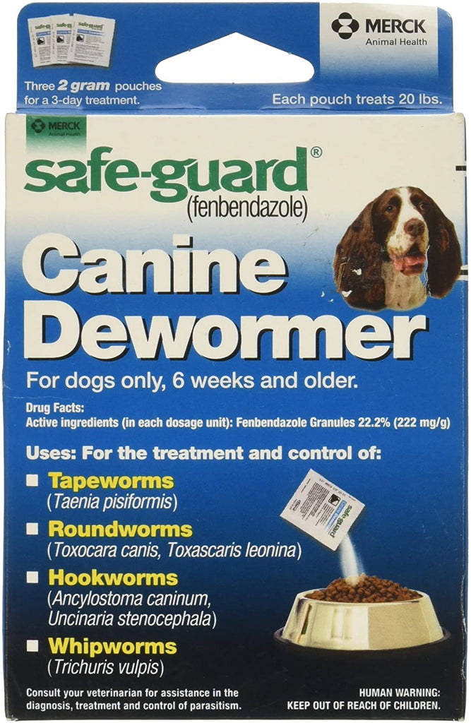 SafeGuard Panacur (fenbendazole) K9 Dogs 20 lbs. 2gm 3-Pack dose All Wormer - Piccardmeds4pets.com
