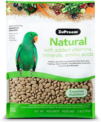 ZuPreem Natural Premium Daily Bird Food Med To Lg for Parrots and Conures 3 lbs. - Piccardmeds4pets.com