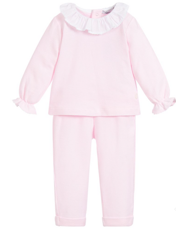 Babidu Girls Pink Piquet Two Piece Set