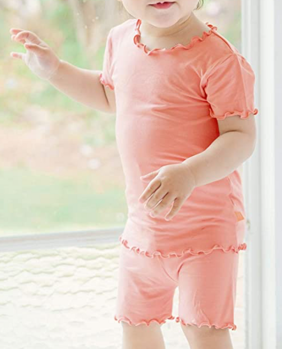 Girls Short Sleeve Peach Rose Set