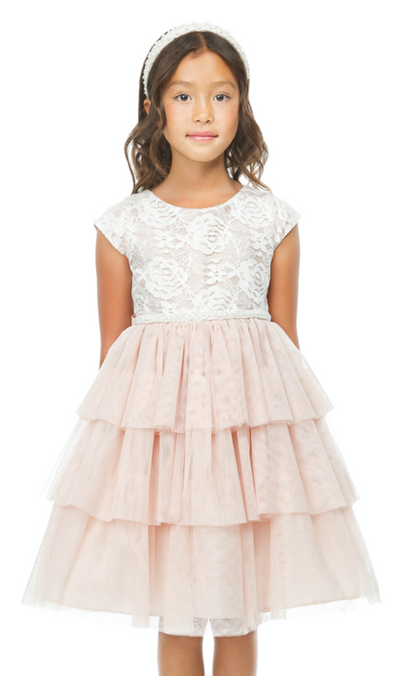 Girls Floral Lace Tiered Tea Length Dress
