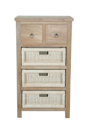 Safari Occasional Table with Drawers & Rattan Baskets