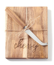 Load image into Gallery viewer, Wood Cheese Board & Knife Set