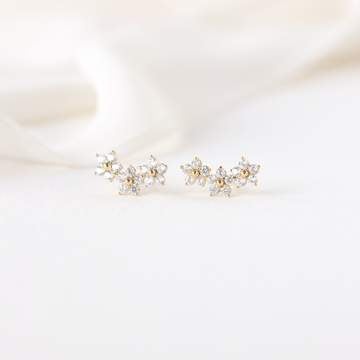 Blossom Climber Earrings - Gold