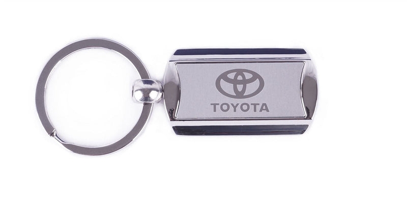 Toyota Silver Metal & White Branded Keyring Key Ring