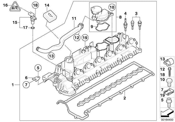 BMW Genuine Cylinder Head Cover Engine Block Breather With Gasket