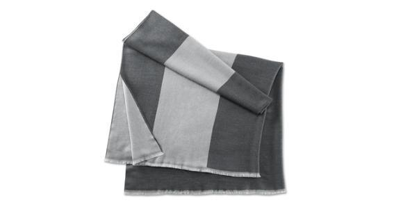 BMW Genuine Iconic Collection Wool Plaid Fringes Blanket Grey