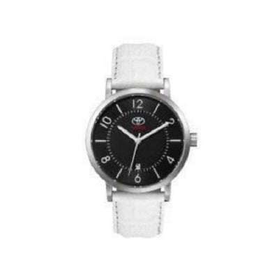 Genuine OEM Toyota Womens Black Face Watch with White Leather Strap