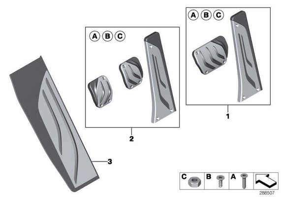 BMW Genuine M Performance Stainless Steel Pedals Covers Set