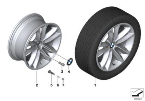 "BMW Genuine 18"" Light Alloy Wheel Disc Bright Turned Double Spoke"