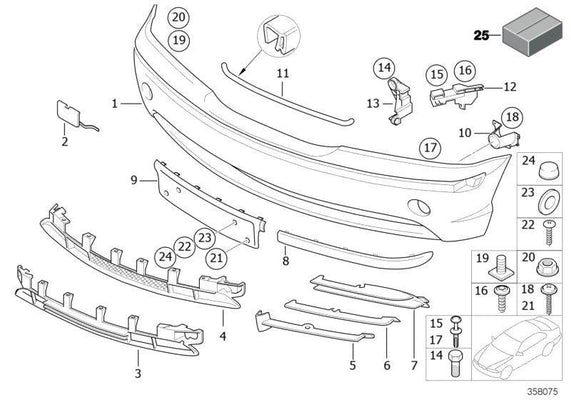 BMW Genuine Trim Panel Front Bumper Partially Open Grid Left N/S