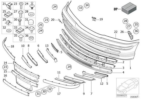 BMW Genuine Front Bumper Protective Rubber Strip Trim N/S