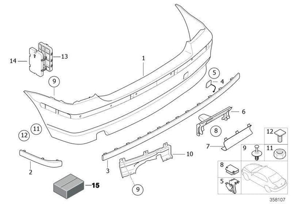 BMW Genuine Rear Bumper Cover Tow Eye Flap Primed