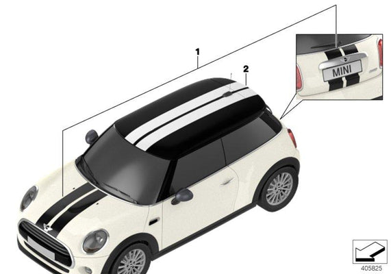 MINI Genuine Roof Kit Sport Stripes Decal Stickers in White