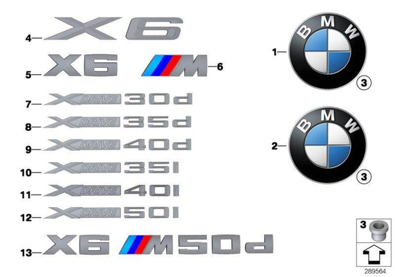 "BMW Genuine ""X Drive 30d"" Trunk Boot Lettering Emblem Badge"