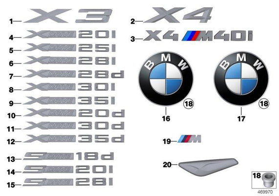 Genuine BMW Lettering Badge Emblem X4