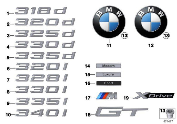 Genuine BMW Lettering Badge Emblem