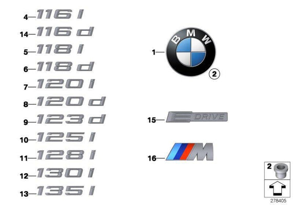 Genuine BMW Emblem Badge Logo Body Panel