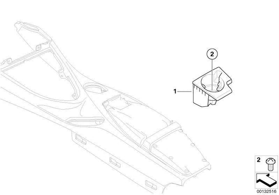 BMW Genuine Rear Center Console Drink/Cup Holder