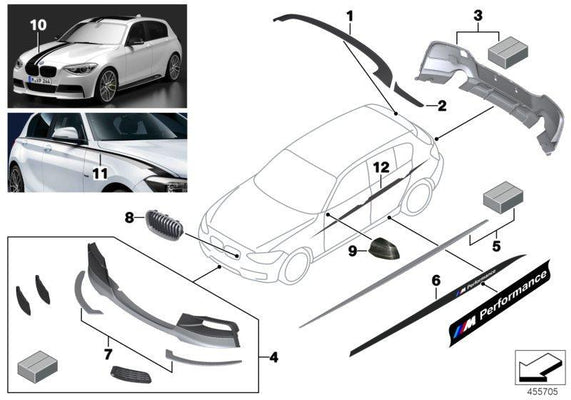 BMW Genuine M Performance Side Sill Skirt Foil Left / Right
