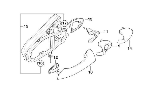 BMW Genuine Front Left Door Exterior Handle Carrier