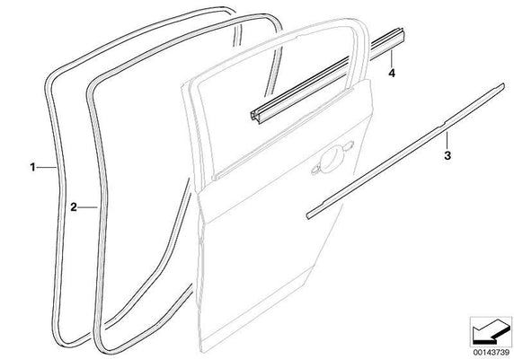 BMW Genuine Rear Right Outer Door Channel Cover
