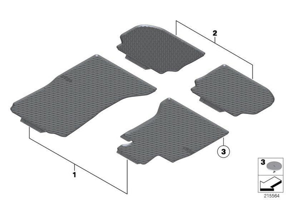 BMW Genuine All-Weather Rubber Floor Mats Set Rear Black