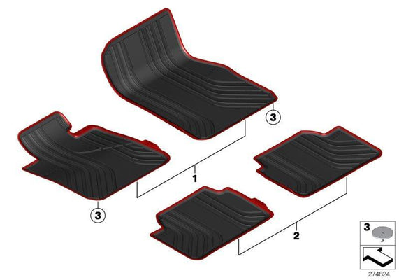 BMW Genuine All-Weather Rubber Rear Car Floor Mats Set Black