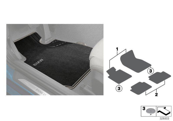 BMW Genuine 'Basic' Front Floor Mats Set Carpet Textile