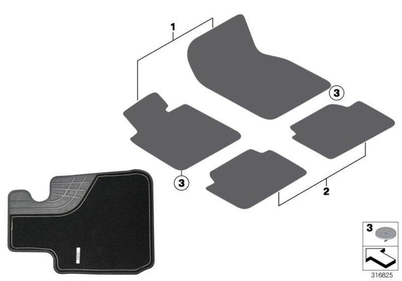 BMW Genuine 'Luxury' Rear Car Floor Mats Carpet