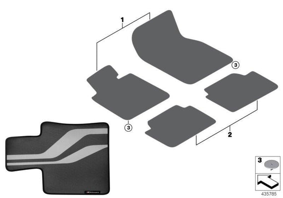BMW Genuine M Performance Car Carpet Floor Mats Front Set