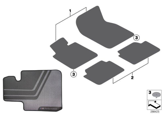 BMW Genuine M Performance Car Floor Mats Rear Set