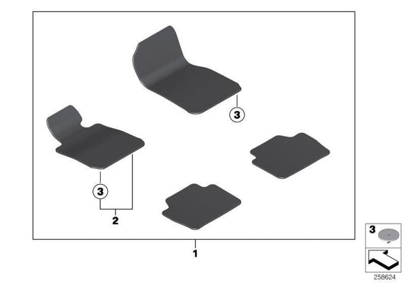 BMW Genuine Floor Mats Velours Front + Rear Set Anthracite