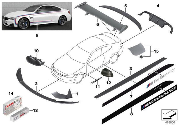 BMW Genuine M Performance Side Trim Grille Passenger N/S