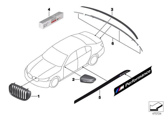 BMW Genuine M Performance Tailgate Trim Strip Set Black Rear