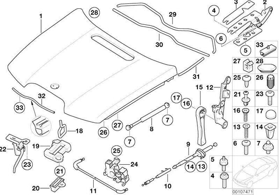 BMW Genuine Engine Hood Mounting Clip x10
