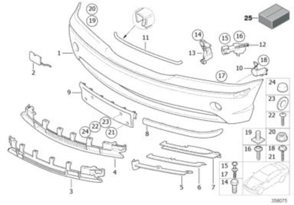 BMW Genuine Partially Open Front Bumper Grille Trim O/S