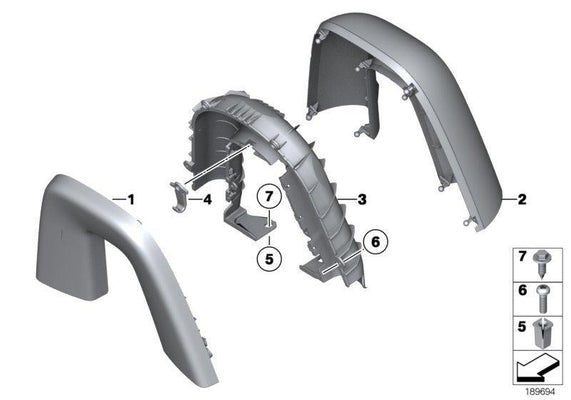 BMW Genuine Wind Deflector Roll Bar Hoop Trim Cover Rear Left