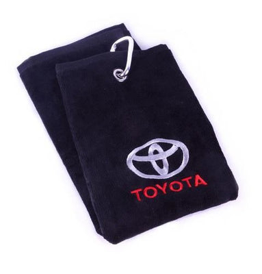 Genuine OEM Toyota Black Branded Embroidered Tri-Fold Golf Cart Towel