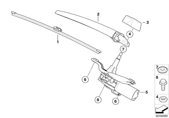 BMW Genuine Rear Window Windscreen Windshield Wiper Arm