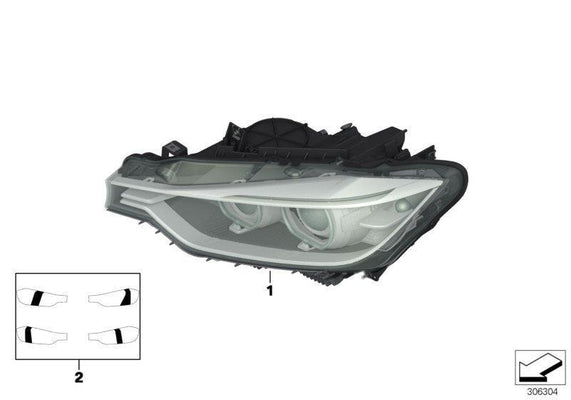 BMW Genuine Head Light Lamp Right O/S Drivers Side