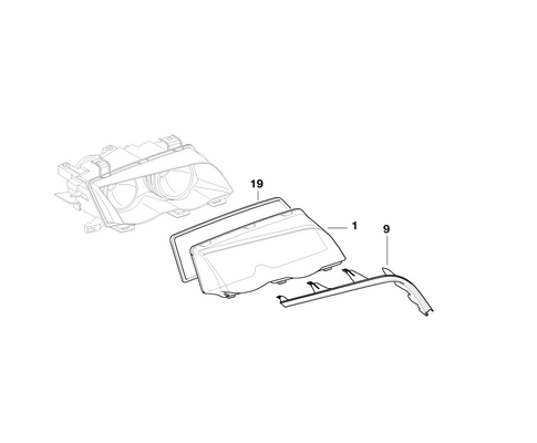 BMW Genuine Xenon Light Headlight Head Lamp Cover Strip Right