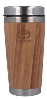 Toyota Logo Branded Stainless Steal Bamboo Flask Travel Mug Wood Effect