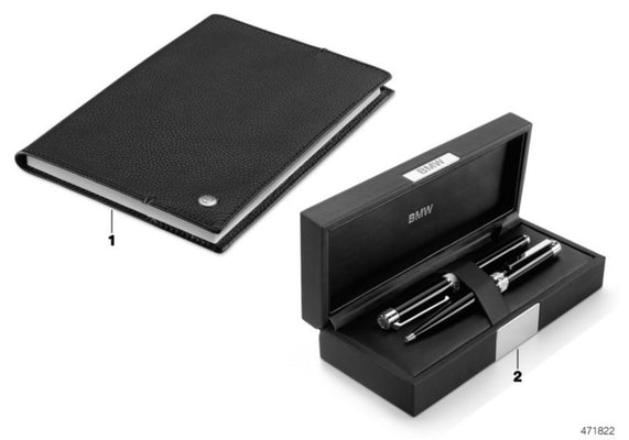 BMW Genuine Iconic Calfskin Leather Notebook A5 160 Pages Black