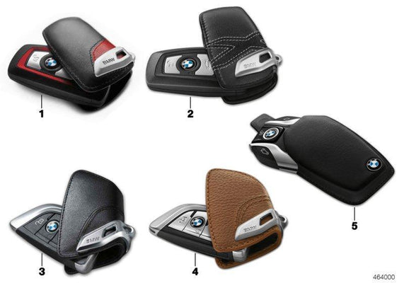 BMW Genuine Key Fob Case With Stainless Steel Chrome Clip Mocha