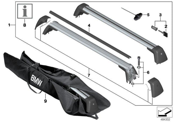 BMW Genuine Roof Rack Rail Bars Lockable Storage Luggage Carrier